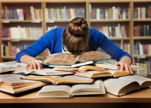 Student Studying Hard Exam and Sleeping on Books, Tired Girl Read Difficult Book in Library