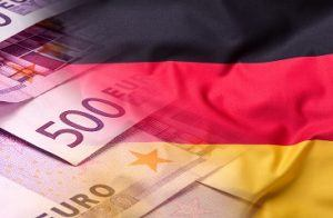 Flags of the Germany and the European Union. Germany Flag and EU Flag. World flag money concept.Flags of the Germany and the European Union. Germany Flag and EU Flag. World flag money concept.