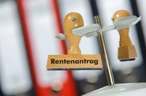 request for pension - in german: Rentenantrag - marked on rubber stamp in office